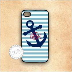Anchor nautical stripes custom monogram iphone case hard cover