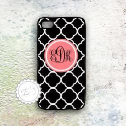 iPhone4 4s Coral iPhone Black Damask Monogram Case- Custom Monogrammed Cover