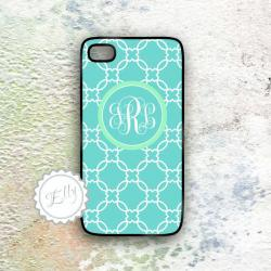 iPhone Case aqua and mint monogrammed hard back cover for 4 4S