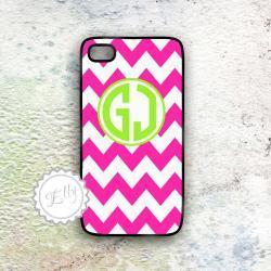 iphone 4s in case hot pink chevron custom monogram hard cover